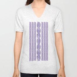 Cable Stripe Violet Unisex V-Neck