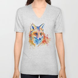 Cute Fox Head Unisex V-Neck
