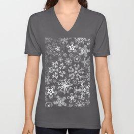 Symbols in Snowflakes on Black Unisex V-Neck