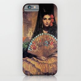 Woman of Mexico with fan portrait painting by Jesus Helguera iPhone Case
