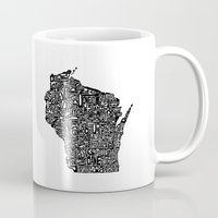 wisconsin Mugs featuring Typographic Wisconsin by CAPow!