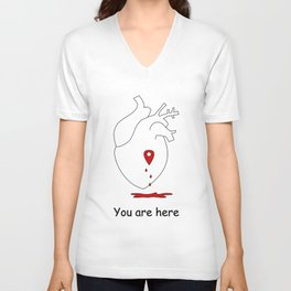 love concept illustration with human heart and map location Unisex V-Neck