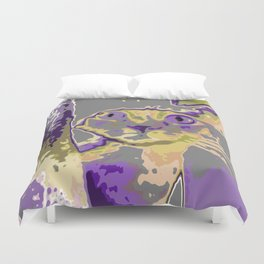 Cat in The Window (Purple version) Duvet Cover