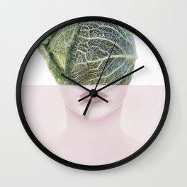 femme fatale, surrealisme, head, portrait, pastel Wall Clock