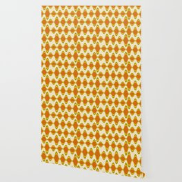 Retro Psychedelic Wavy Pattern in Orange, Yellow, Olive Wallpaper