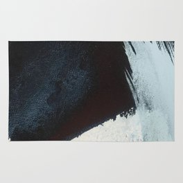 Like A Gentle Hurricane [2]: a minimal, abstract piece in blues and white by Alyssa Hamilton Art Rug