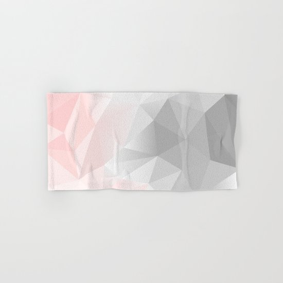 pink and grey geometric low poly background Hand & Bath Towel