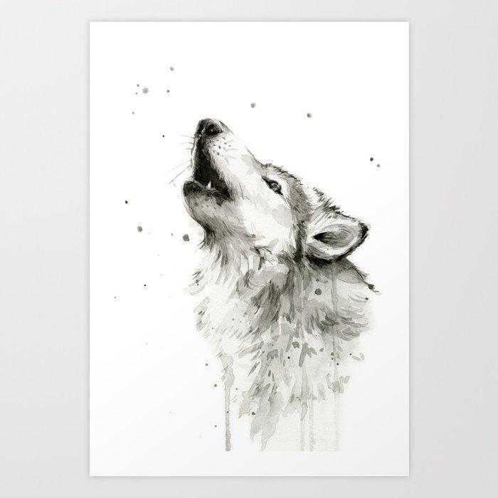 Wolf Howling Art Print By Olechka Society6