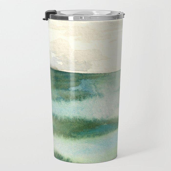 Emerald Sea Watercolor Print Travel Mug