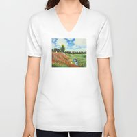 monet V-neck T-shirts featuring Claude Monet - Poppy Field at Argenteuil by Elegant Chaos Gallery