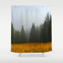Olive Green Pines Shower Curtain