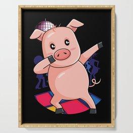 Dabbing Pig | Dancing Farm Animal Pink Piglet Serving Tray