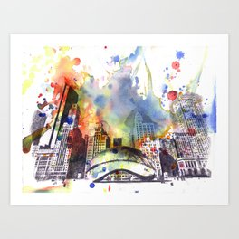 Chicago Bean Cityscape Watercolor Painting Art Print