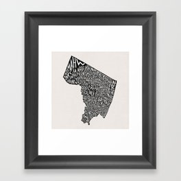 Bergen County, New Jersey Map Framed Art Print