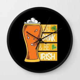 Eat Drink & Be Irish Beer Lucky Charm Wall Clock