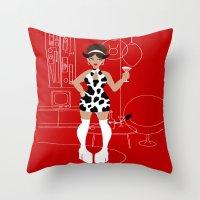 60s Throw Pillows featuring 60s Zodiac Gals: Taurus by Skart87