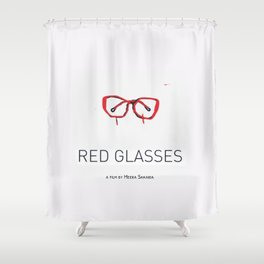RED GLASSES  Shower Curtain