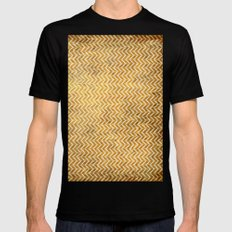 Textured ice coffee chevrons MEDIUM Mens Fitted Tee Black