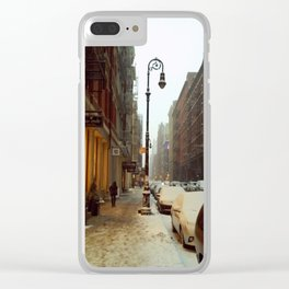 Soho snowing. Winter in New York Clear iPhone Case