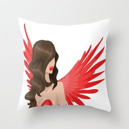 Red angel Throw Pillow