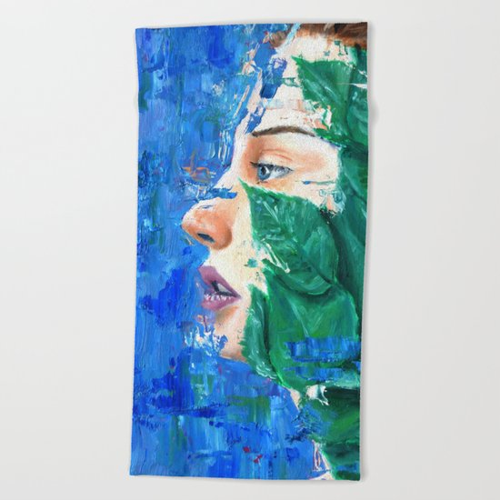 Leaves and face Beach Towel