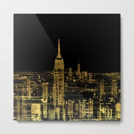 Abstract Gold City  Skyline Design Metal Print