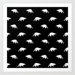 Raccoon linocut black and white animal pattern minimal basic pattern Art Print