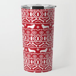Corgi Fair Isle christmas sweater with dogs cute must have corgi gifts by pet friendly Travel Mug