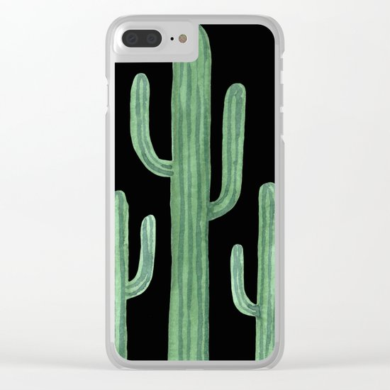 Classic Cactus Black Clear iPhone Case