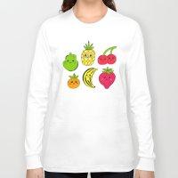 fruits Long Sleeve T-shirts featuring Kawaii Fruits by Ornaart