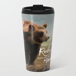 Grizzly On The Rocks Metal Travel Mug