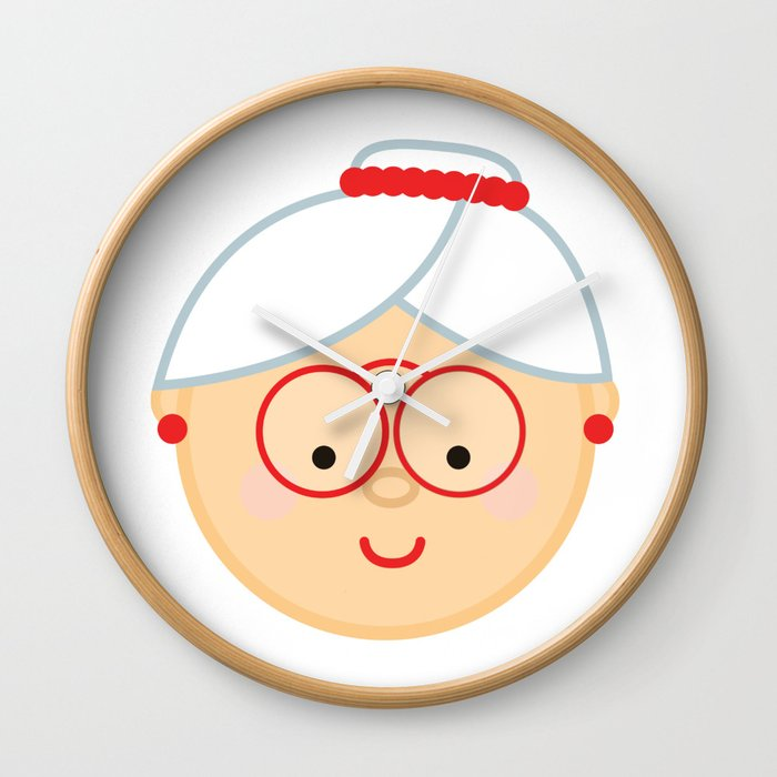 Christmas Emoji.Grandma Christmas Emoji Wall Clock By Iwearemoji