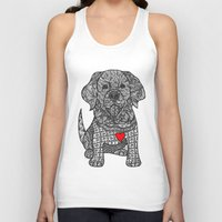 golden retriever Tank Tops featuring Gentle Giant - Golden Retriever by DiAnne Ferrer