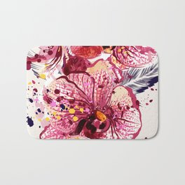 Tropical orchids painted in watercolor style with ink spots Bath Mat
