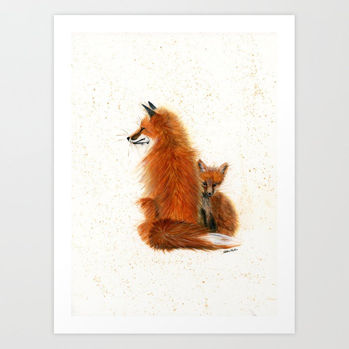 Fox Mama and Kit - animal watercolor painting of fox mother and baby Art Print