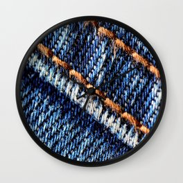 Blue jeans texture Wall Clock