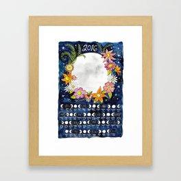 2016 Moon Calendar Framed Art Print
