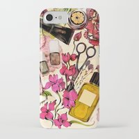 nail polish iPhone & iPod Cases featuring Nail polish and peonies  by Felicia Cirstea