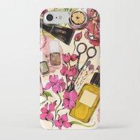 nail polish iPhone & iPod Cases featuring Nail polish and peonies  by Felicia Atanasiu