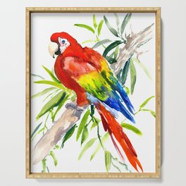 Scarlet Macaw, jungle tropical home decor bright colored parrot foliage Serving Tray
