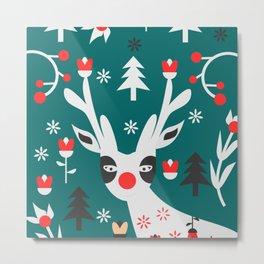 Merry Christmas reindeer Metal Print