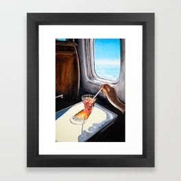 Glass in Airplane | Retro Mid Century | Mad Men Painting Framed Art Print