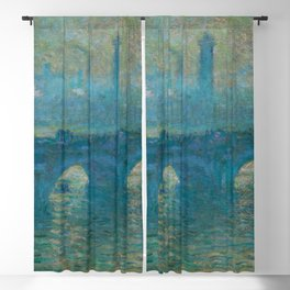 "Claude Monet ""Waterloo Bridge, Gray Weather"" Blackout Curtain"