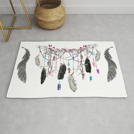 Raven Feathers And Roses Crystal Spirit Gazer Rug
