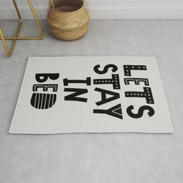 Lets Stay in Bed typography wall art home decor in black and white Rug