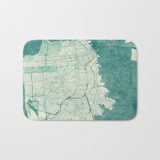 San Francisco Map Blue Vintage  Bath Mat
