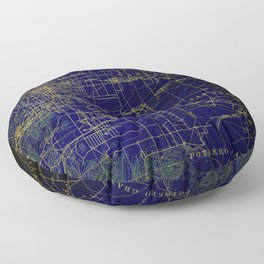 Pasadena antique map year 1896, blue and green artwork Floor Pillow