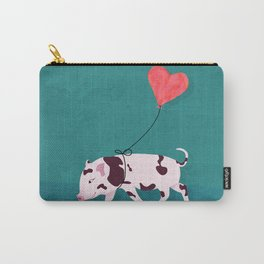 Baby Pig With Heart Balloon Carry-All Pouch