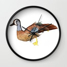 Blue Wing Teal Wall Clock