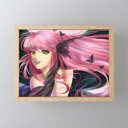 Anime manga girl with pink hair Framed Mini Art Print